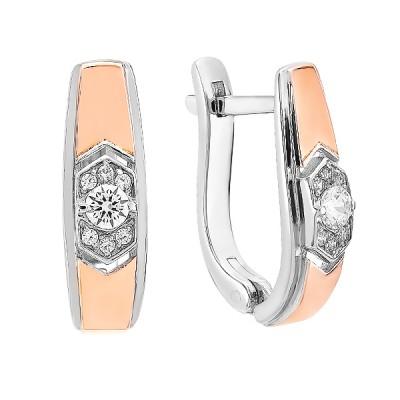 Сережки срібні фантазія з розсипом та золотими вставками (500400-СЗНР)