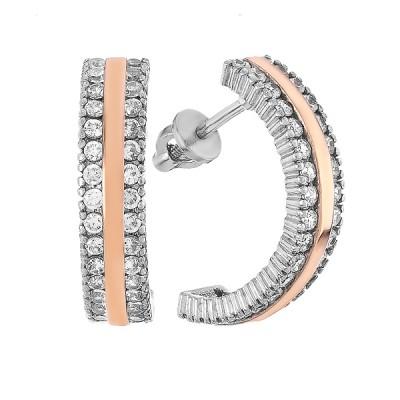 Сережки-пусети срібні доріжка з фіанітами та золотими вставками (500402-АСПЗНР)