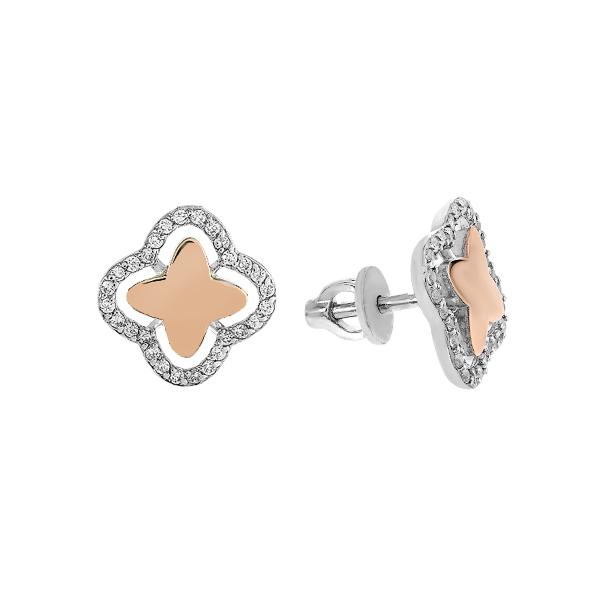 Сережки-пусети срібні фантазія з розсипом та золотими вставками (500412-СПЗНР)