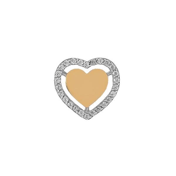 Підвіска срібна Серце з розсипом та золотими вставками (500413-КЗНР)