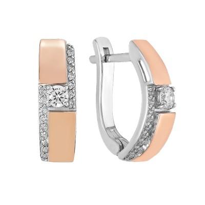 Сережки срібні фантазія з розсипом та золотими вставками (500416-СЗНР)