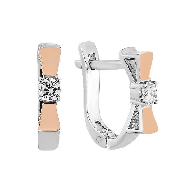 Сережки срібні фантазія з розсипом та золотими вставками (500419-СЗНР)