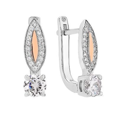 Сережки срібні з фіанітами та золотими вставками (500420-СЗНР)