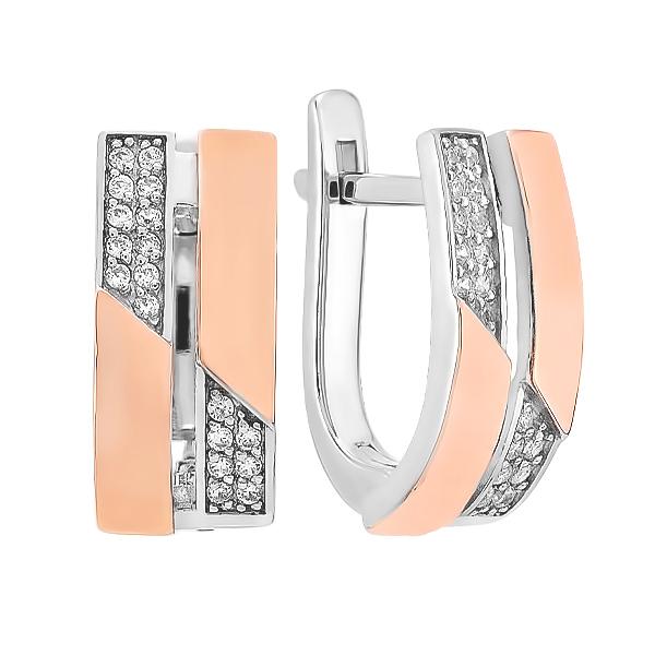 Сережки срібні фантазія з розсипом та золотими вставками (500423-СЗНР)