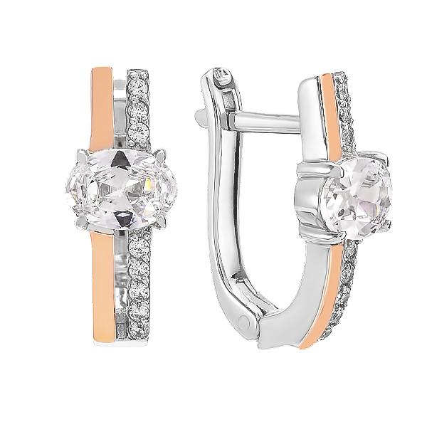 Сережки срібні фантазія з розсипом та золотими вставками (500428-СЗНР)