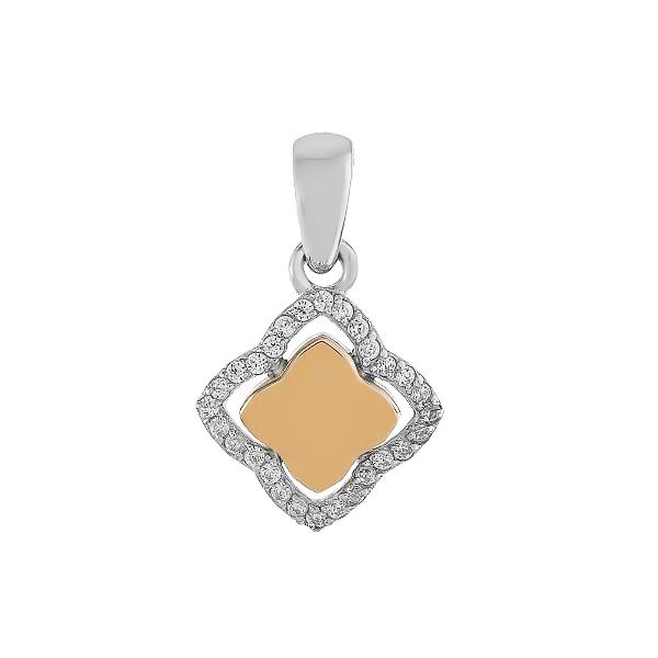Підвіска срібна фантазія з розсипом та золотими вставками (500430-КЗНР)