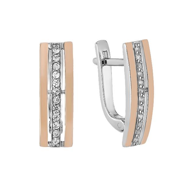 Сережки срібні доріжка з фіанітами та золотими вставками (500432-СЗНР)