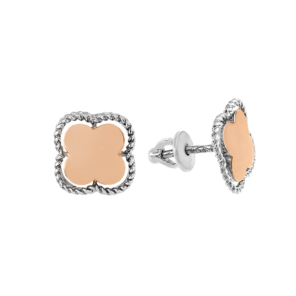 Сережки-пусети срібні без каменів з золотими вставками (500435-СПЗНР)