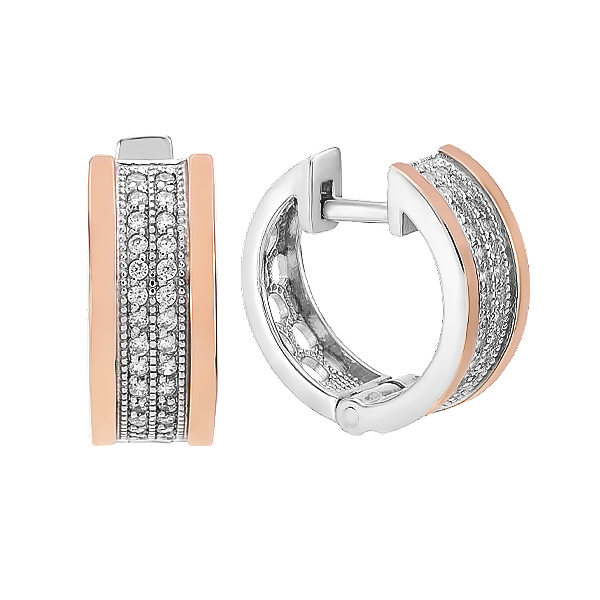 Сережки срібні доріжка з фіанітами та золотими вставками (500439-СЗНР)