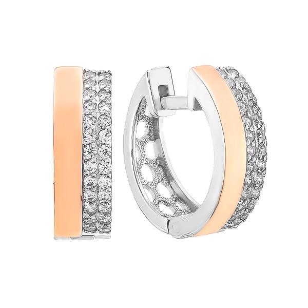 Сережки срібні доріжка з фіанітами та золотими вставками (500443-СЗНР)