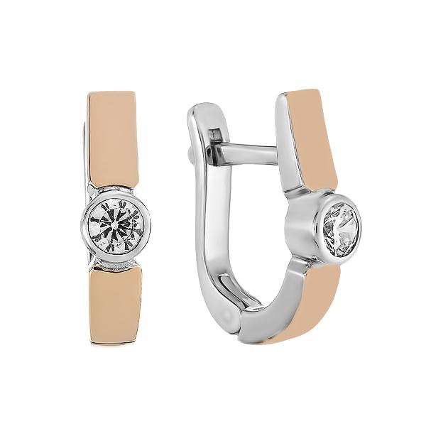 Сережки срібні з фіанітами та золотими вставками (500691-СЗНР)