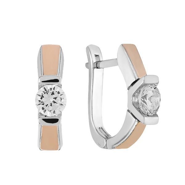Сережки срібні з фіанітами та золотими вставками (500694-СЗНР)