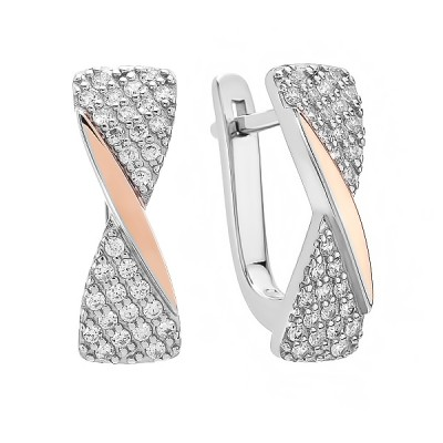 Сережки срібні фантазія з розсипом та золотими вставками (500698-СЗНРл.к)