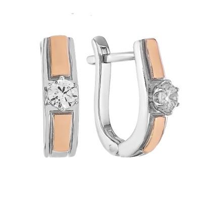 Сережки срібні з фіанітами та золотими вставками (500703-СЗНР)