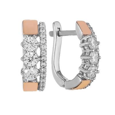 Сережки срібні фантазія з розсипом та золотими вставками (500706-СЗНРл.к)