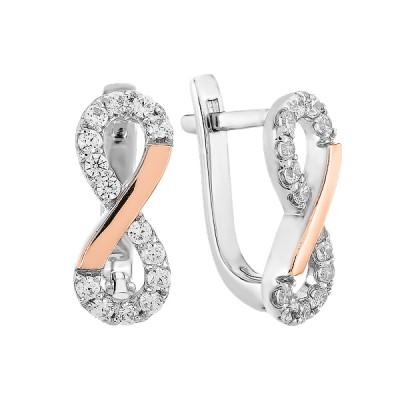 Сережки срібні Безмежність з фіанітами та золотими вставками (500709-СЗНР)