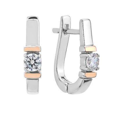 Сережки срібні з фіанітами та золотими вставками (500719-СЗНР)