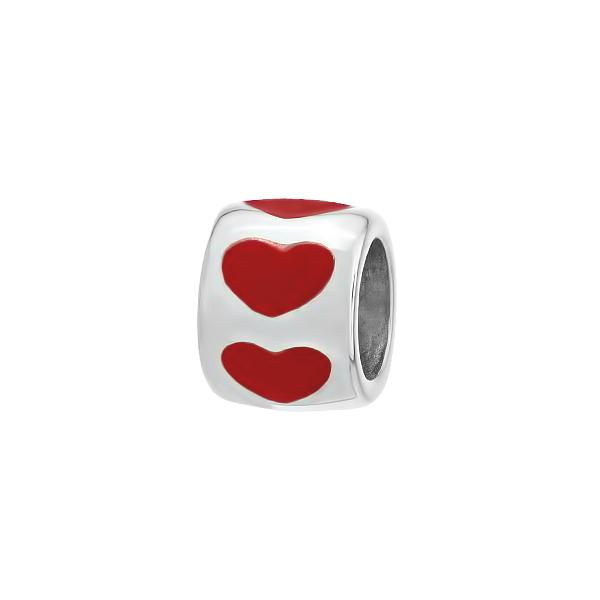 Шарм намистина срібна Серце без каменів (501П.Rh)