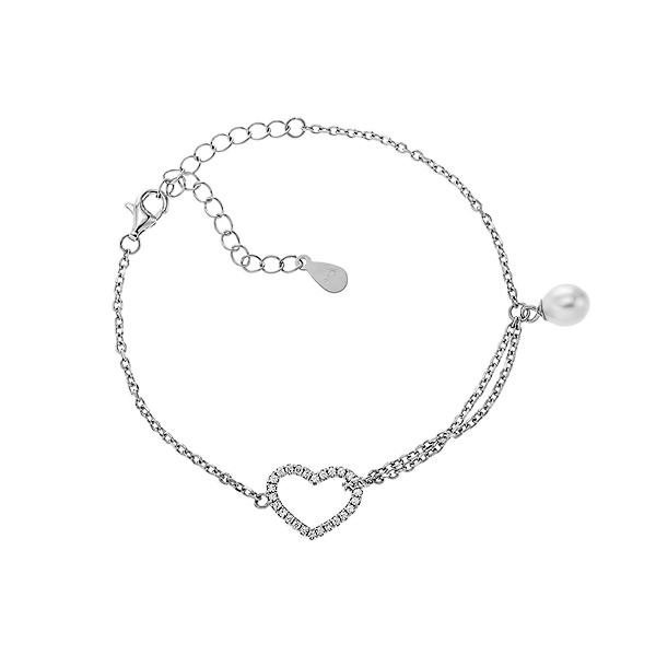 Браслет срібний Серце з фіанітами (550023б)