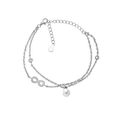 Браслет срібний Безмежність з фіанітами (550033б)