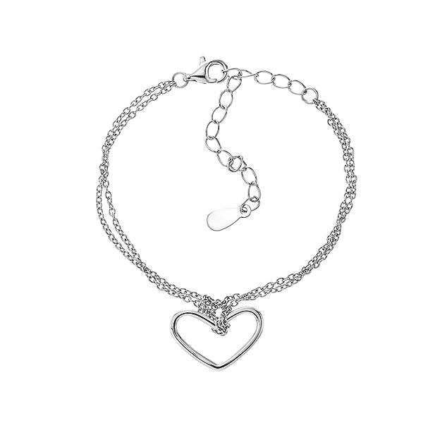 Браслет срібний Серце без каменів (550065)