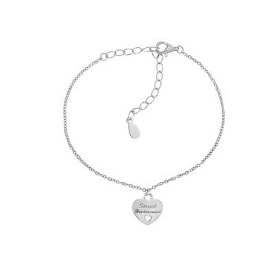 Браслет срібний Серце з фіанітом (550066б)