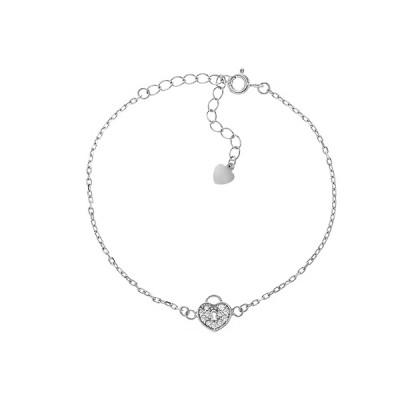 Браслет срібний Серце з фіанітами (550071б)