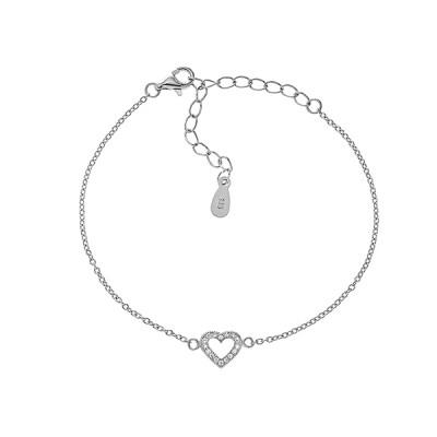 Браслет срібний Серце з фіанітами (550074б)
