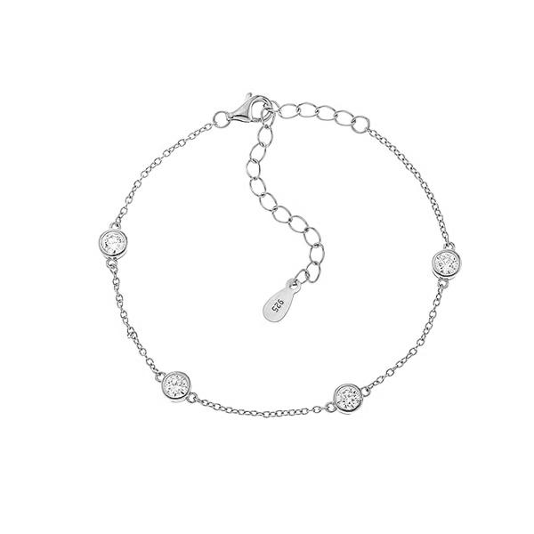 Браслет срібний фантазія з фіанітами (550083б)