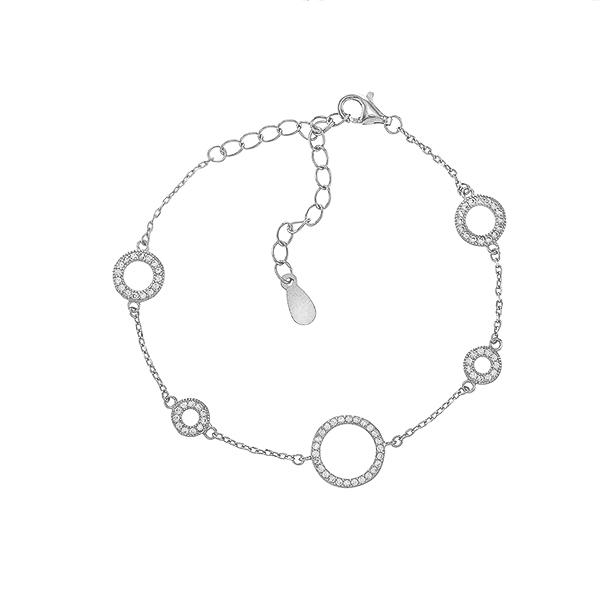 Браслет срібний фантазія з фіанітами (550085б)