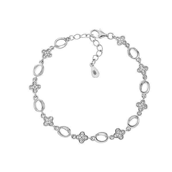 Браслет срібний фантазія з фіанітами (550093б)