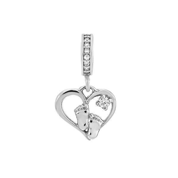 Шарм намистина срібна Серце з фіанітами (595П.Rh)