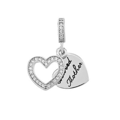 Шарм намистина срібна Серце з фіанітами (613П.Rh)