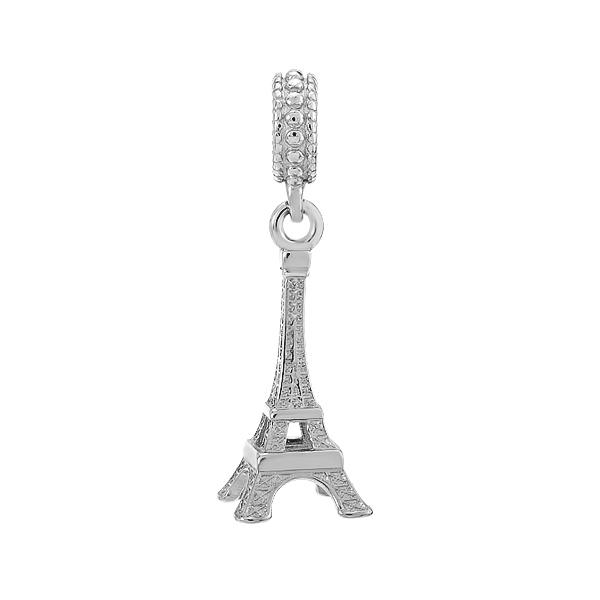 Шарм намистина срібна Ейфелева вежа з фіанітами (617П.Rh)