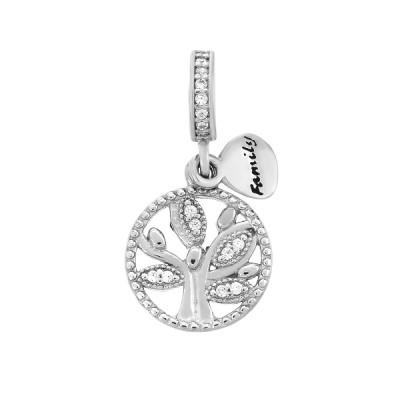 Шарм намистина срібна Дерево з фіанітами (618П.Rh)