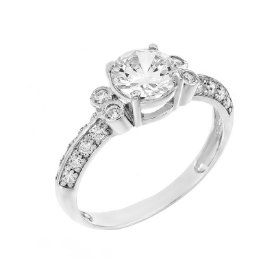 Кольцо серебряное с фианитами (71049б)
