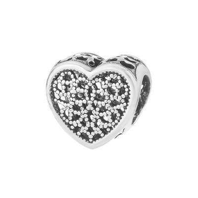 Шарм намистина срібна Серце з фіанітами (74485*)