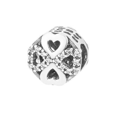 Шарм намистина срібна Квітка з фіанітами (74491б*)