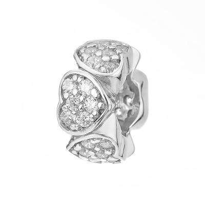 Шарм намистина срібна з фіанітами (758П.Rh)