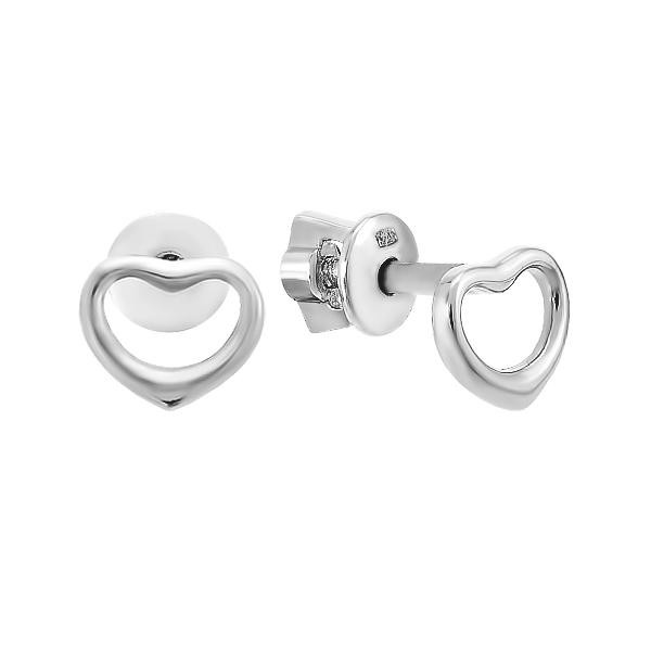 Сережки-пусети (гвоздики) срібні Серце без каменів (82702)