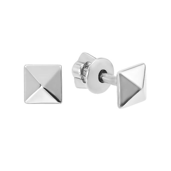 Сережки-пусети (гвоздики) срібні геометрія без каменів (82709)