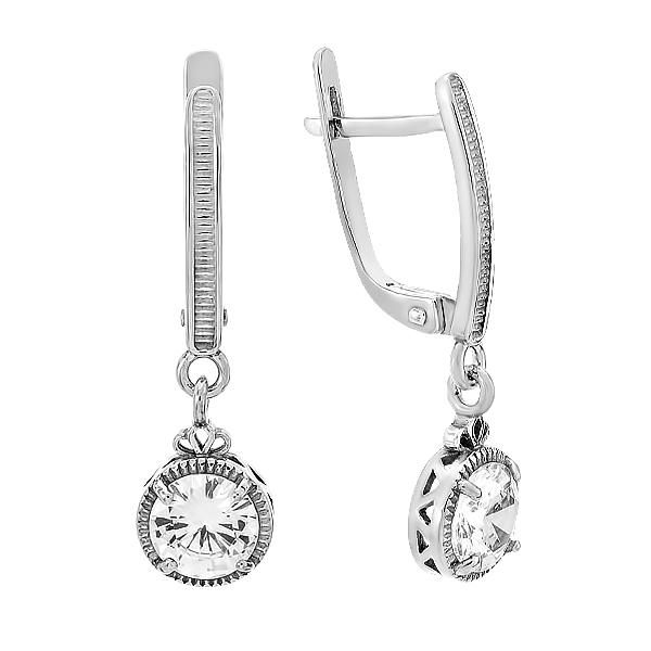 Сережки срібні з фіанітами (82725б)