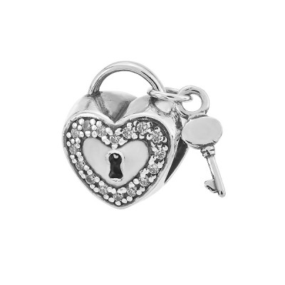 Шарм намистина срібна Серце з фіанітами (84603б*)
