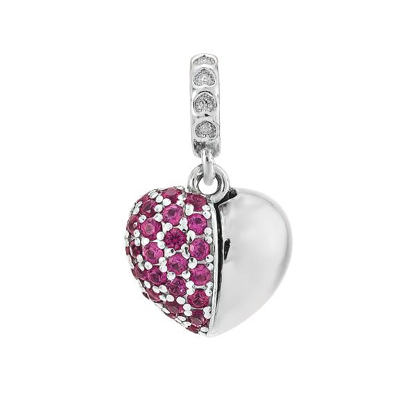 Шарм намистина срібна Серце з фіанітами (84682рб)