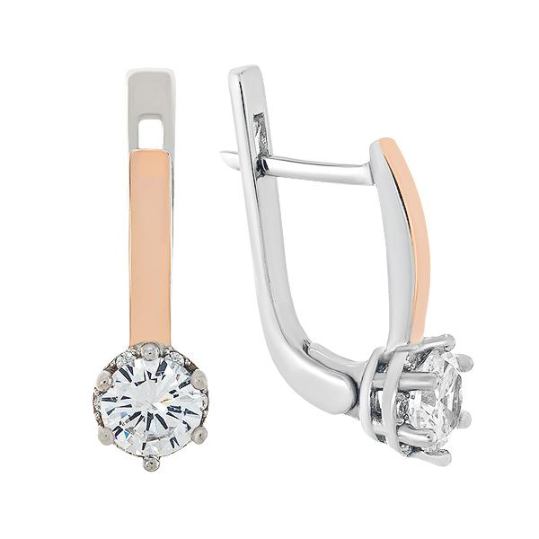 Сережки срібні з фіанітами та золотими вставками (848С.Rh)