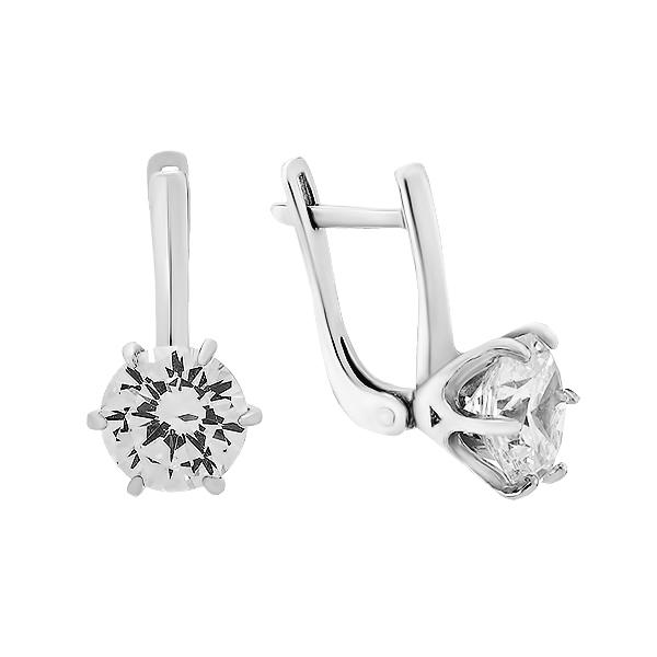 Сережки срібні з фіанітами (920040б)