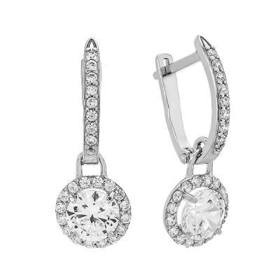 Сережки срібні з фіанітами (920054б)