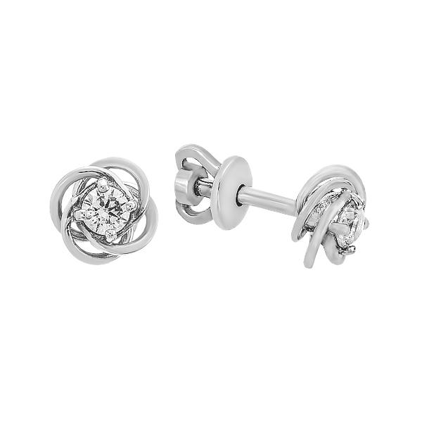 Сережки-пусети (гвоздики) срібні з фіанітами (929006б)