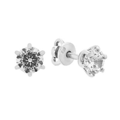 Сережки-пусети (гвоздики) срібні з фіанітами (929012б)