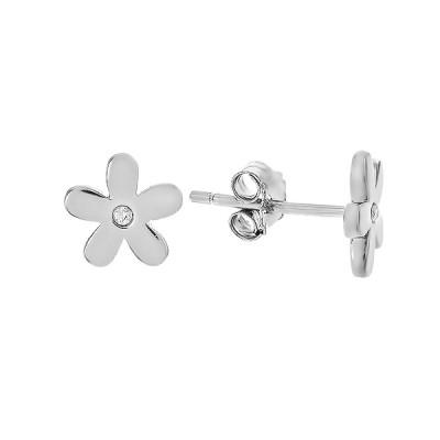 Сережки-пусети срібні фантазія з фіанітами (ASE02188)